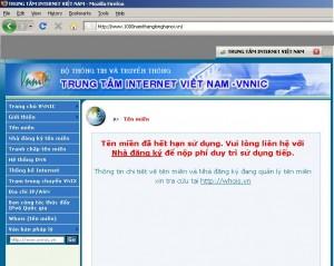 Tên miền của trang web 1000namthanglonghanoi.vn ngừng hoạt động ngay trước đại lễ. (Ảnh chụp màn hình ngày 28.09.2010)